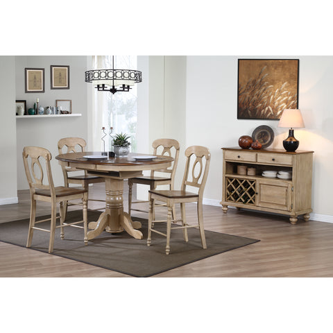 Sunset Trading Brookside Cafe Pedestal Table with Four Napolean Stools in Wheat Finish