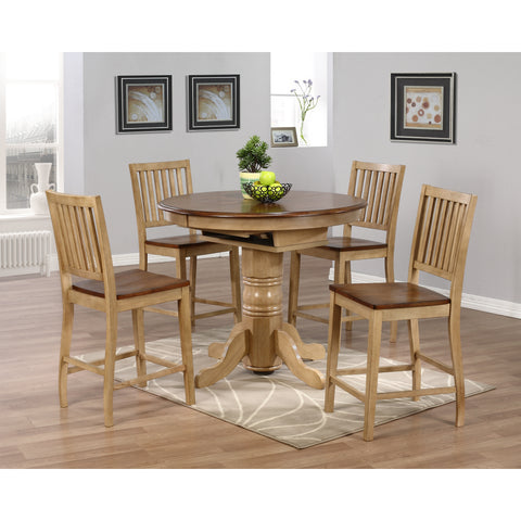 Sunset Trading Brookside Cafe Pedestal Table with Four Slat Back Stools in Wheat Finish