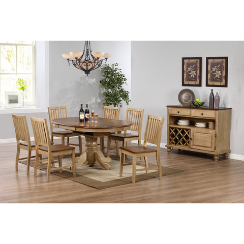 Sunset Trading Brookside Pedestal Table and Six Brookdale Slat Back Chairs in Wheat Finish