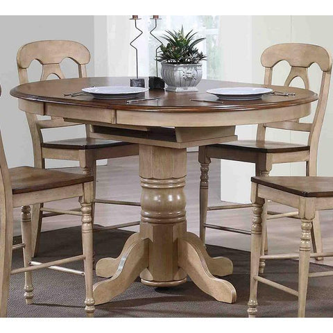 Sunset Trading Brookside Round or Oval Cafe Pedestal Extension Table in Wheat with Pecan Top