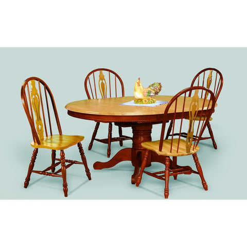 Sunset Trading Butterfly Table in Nutmeg and Four Keyhole Chairs