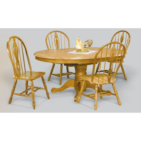 Sunset Trading Butterfly Top Pedestal Table in Light Oak Finish