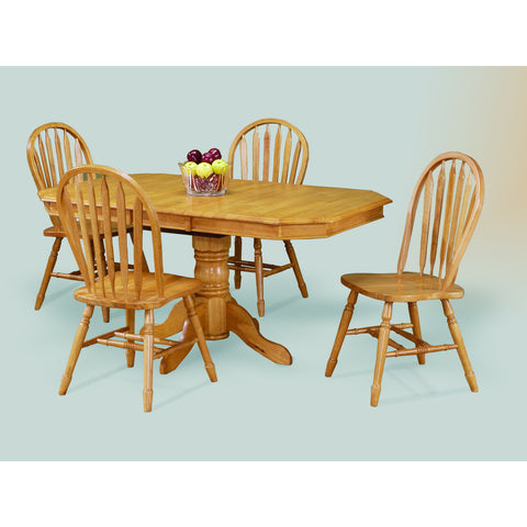Sunset Trading Clipped Edge Pedestal Table with Four Arrowback Chairs in Light Oak Finish
