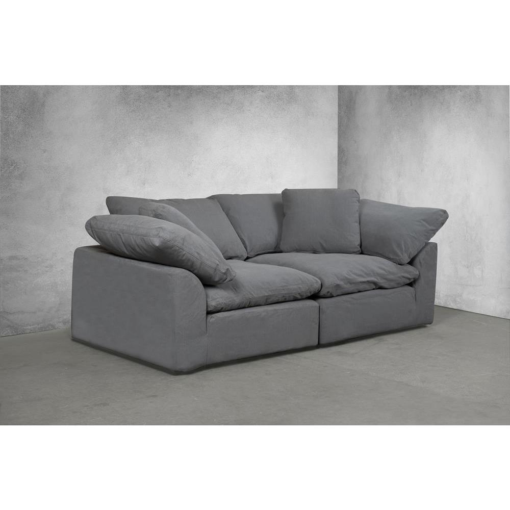 Swell Sunset Trading Cloud Puff 2 Piece Slipcovered Modular Sectional Small Sofa Loveseat Performance Gray Machost Co Dining Chair Design Ideas Machostcouk