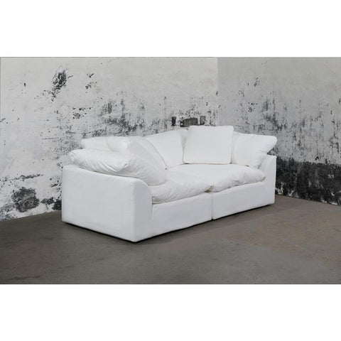 Sunset Trading Cloud Puff 2 Piece Slipcovered Modular Sectional Small Sofa & Loveseat - Performance White