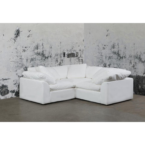Sunset Trading Cloud Puff 3 Piece Slipcovered Modular Sectional Small L Shaped Sofa - Performance White