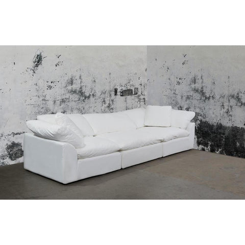 Sunset Trading Cloud Puff 3 Piece Slipcovered Modular Sectional Sofa - Performance White
