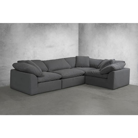 Sunset Trading Cloud Puff 4 Piece Slipcovered Modular L Shaped Sectional Sofa - Performance Gray