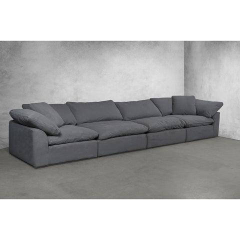 Sunset Trading Cloud Puff 4 Piece Slipcovered Modular Sectional Sofa - Performance Gray