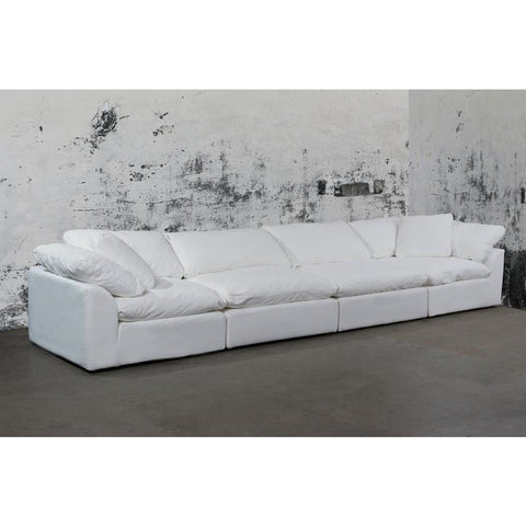 Sunset Trading Cloud Puff 4 Piece Slipcovered Modular Sectional Sofa - Performance White