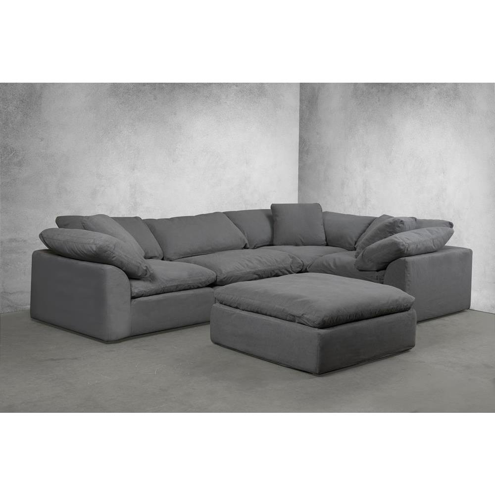 Sunset Trading Cloud Puff 5 Piece Slipcovered Modular L Shaped Sectional Sofa W Ottoman Performance Gray Beyond Stores