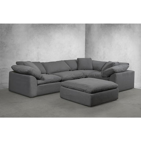 Sunset Trading Cloud Puff 5 Piece Slipcovered Modular L Shaped Sectional Sofa w/Ottoman - Performance Gray