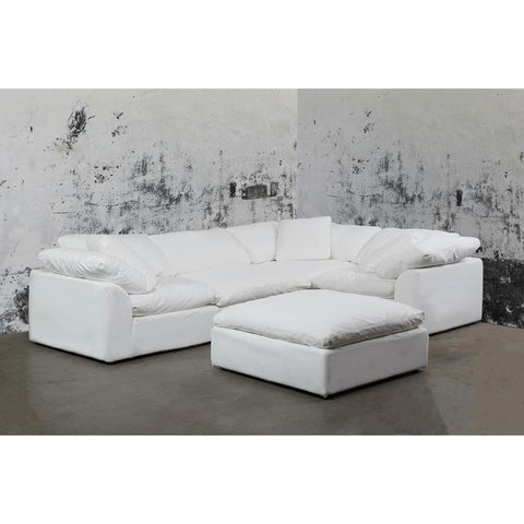 Sunset Trading Cloud Puff 5 Piece Slipcovered Modular L Shaped Sectional Sofa w/Ottoman - Performance White