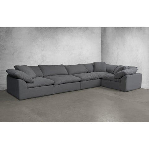Sunset Trading Cloud Puff 5 Piece Slipcovered Modular Sectional Sofa - Performance Gray