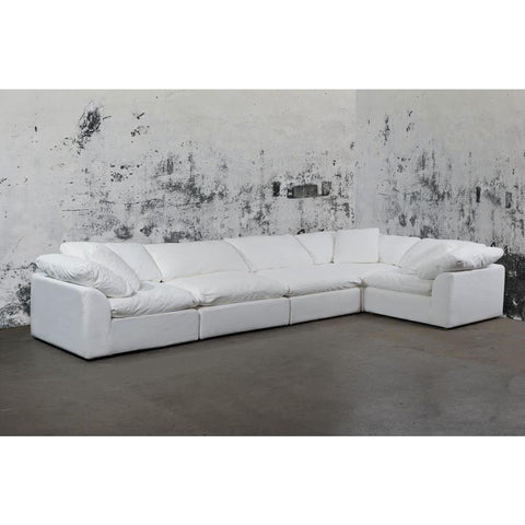 Sunset Trading Cloud Puff 5 Piece Slipcovered Modular Sectional Sofa - Performance White