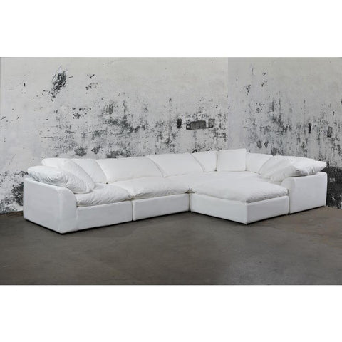Sunset Trading Cloud Puff 6 Piece Slipcovered Modular L Shaped Sectional Sofa w/Ottoman - Performance White