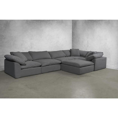 Sunset Trading Cloud Puff 6 Piece Slipcovered Modular Large L Shaped Sectional Sofa w/Ottoman - Performance Gray