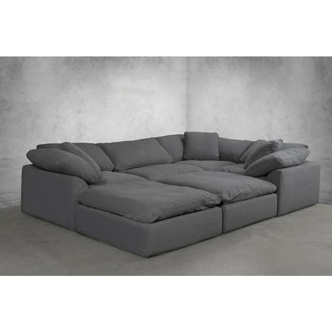 Sunset Trading Cloud Puff 6 Piece Slipcovered Modular Pitt Sectional Sofa - Performance Gray