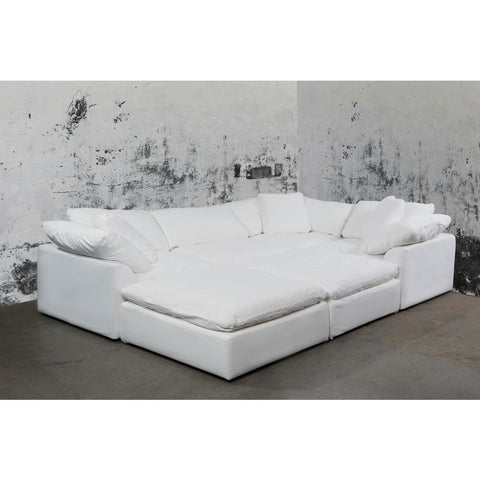 Sunset Trading Cloud Puff 6 Piece Slipcovered Modular Pitt Sectional Sofa - Performance White