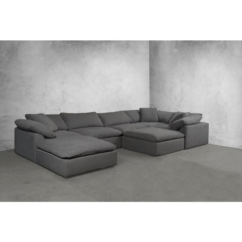 Sunset Trading Cloud Puff 7 Piece Slipcovered Modular Sectional Sofa w/Ottomans - Performance Gray