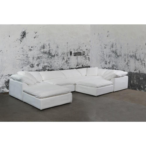 Sunset Trading Cloud Puff 7 Piece Slipcovered Modular Sectional Sofa w/Ottomans - Performance White