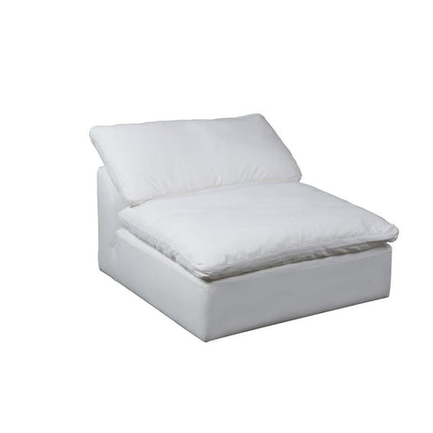 Sunset Trading Cloud Puff Slipcovered Armless Sofa Sectional Modular Chair - Performance White