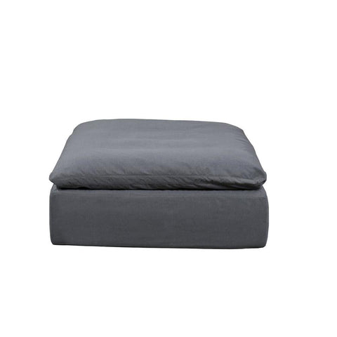 Sunset Trading Cloud Puff Slipcovered Square Sectional Modular Ottoman - Performance Gray