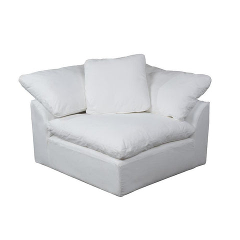 Sunset Trading Cloud Puff Sofa Sectional Modular Arm Chair - Slip Cover Set Only - Performance White