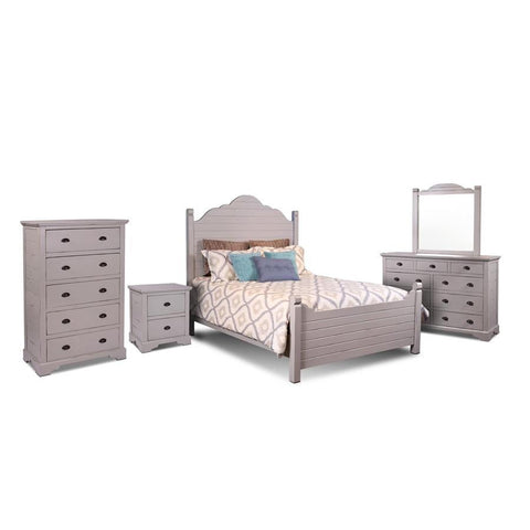 Sunset Trading Coastal Charm 5 Piece Queen Bedroom Set in Passion Gray