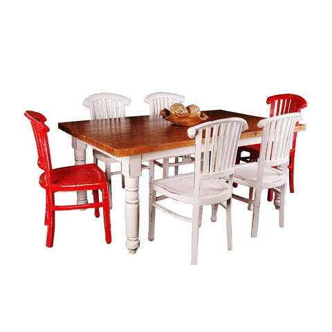 Sunset Trading Cottage 7 Piece Cottage Whitewashed Dining Table Set in Whitewash/Salvage Top/Red
