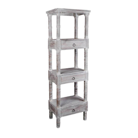 Sunset Trading Cottage Distressed Gray Wood Shelves in Limewash