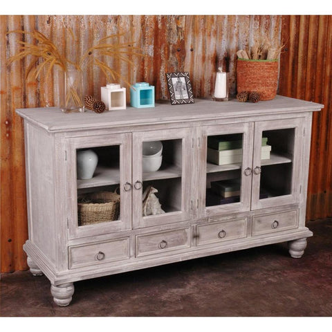 Sunset Trading Cottage Distressed Gray Wood Sideboard in Limewash