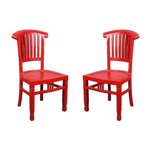 Sunset Trading Cottage Distressed Red Slat Back Chair