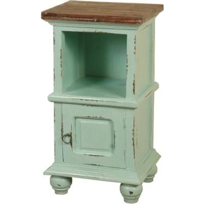 Sunset Trading Cottage End Table w/Basket in Teal w/Raftwood Top