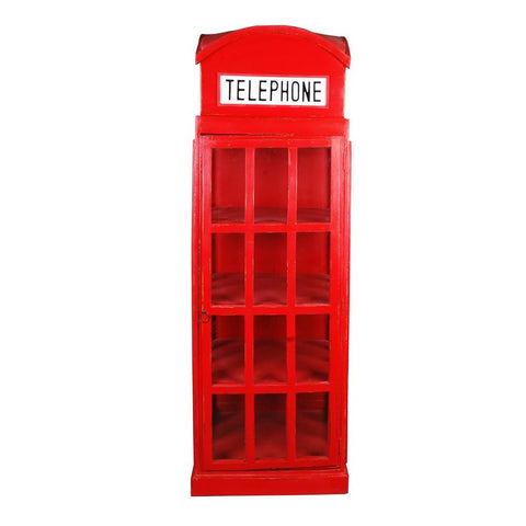 Sunset Trading Cottage English Phone Booth Cabinet in Red