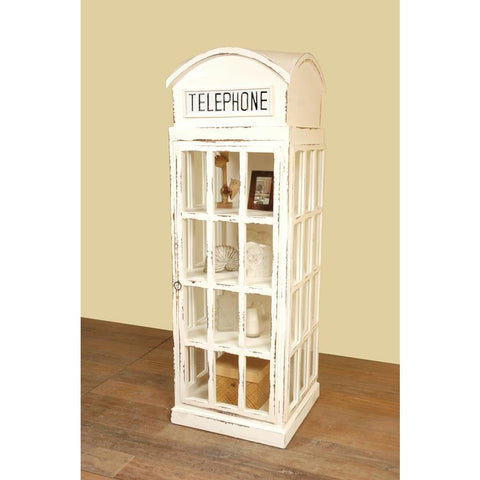 Sunset Trading Cottage English Phone Booth Cabinet in Whitewash