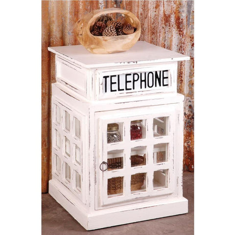 Sunset Trading Cottage English Phone Booth End Table in Whitewash