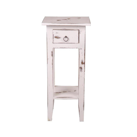 Sunset Trading Cottage Narrow Side Table in Heavy Distressed Whitewash