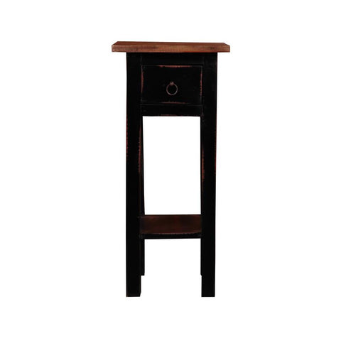 Sunset Trading Cottage Narrow Side Table in Light Distressed Antique Black