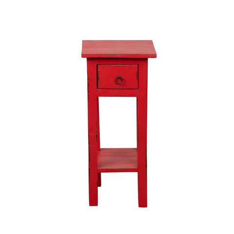 Sunset Trading Cottage Narrow Side Table in Light Distressed Red