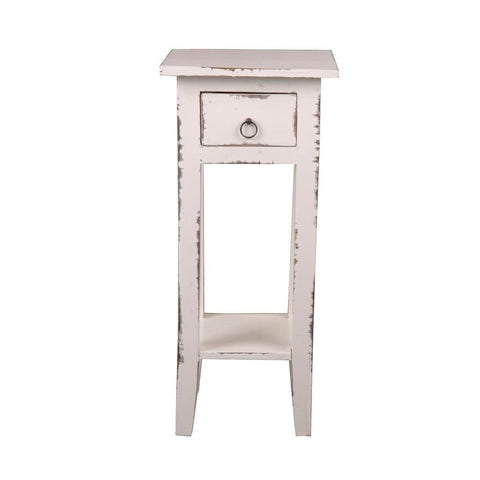 Sunset Trading Cottage Narrow Side Table in Light Distressed Whitewash