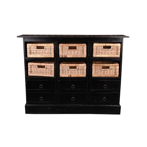 Sunset Trading Cottage Six Basket Cabinet in Antique Black