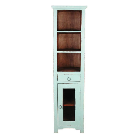 Sunset Trading Cottage Tall Narrow Cabinet in Teal w/Raftwood Inside