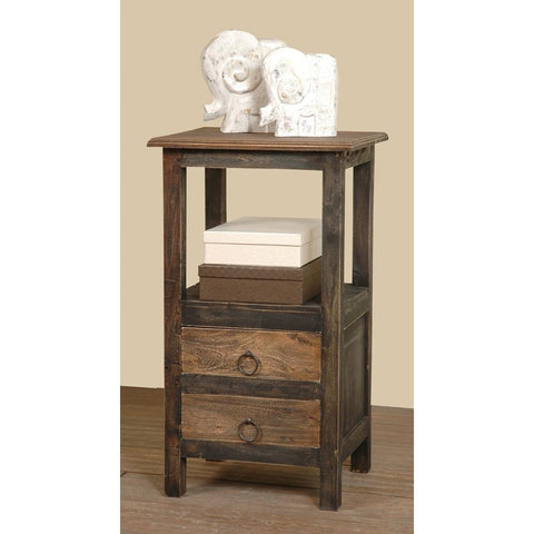 Sunset Trading Cottage Two Drawer End Table in Blackwash w/Raftwood Top & Drawer