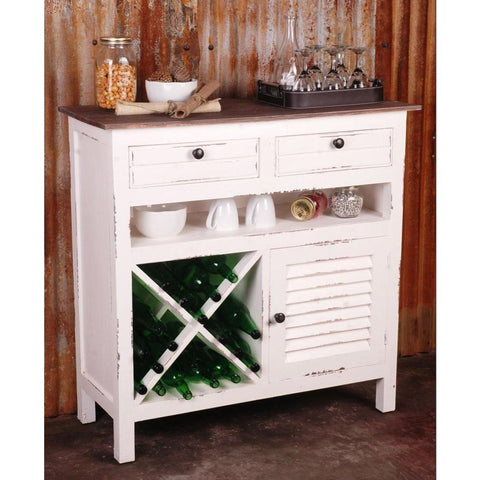 Sunset Trading Cottage Whitewashed Wine Server