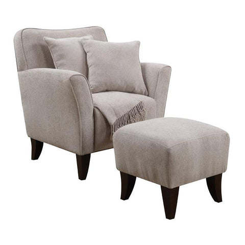 Sunset Trading Cozy Accent Chair w/Ottoman & Pillows & Throw in Taupe