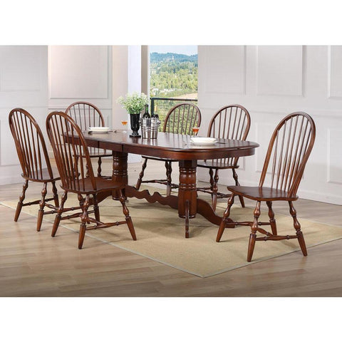 Sunset Trading Double Pedestal Extension Dining Set