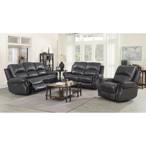 Sunset Trading Emerald 3 Piece Reclining Living Room Set w/Power Headrests & USB - Charcoal Gray