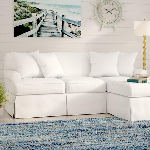 Sunset Trading Horizon Slipcover Only for Sleeper Sofa & Chaise - Performance White