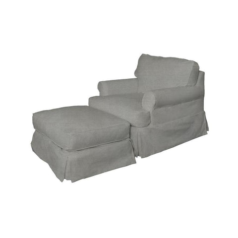 Sunset Trading Horizon Slipcovered Chair & Ottoman - Performance Gray
